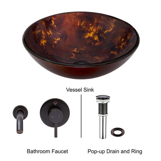 Vigo Fusion Glass Vessel Bathroom Sink with Olus Wall Mount Faucet