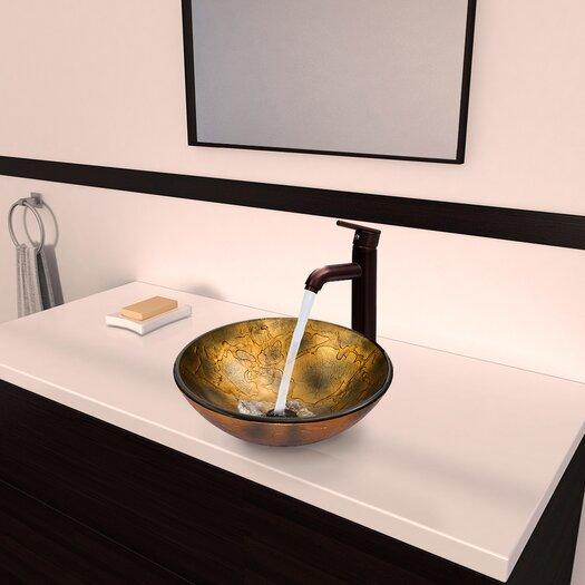 Vigo Glass Vessel Bathroom Sink with Seville Faucet