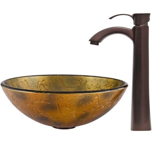 Vigo Glass Vessel Bathroom Sink with Otis Faucet