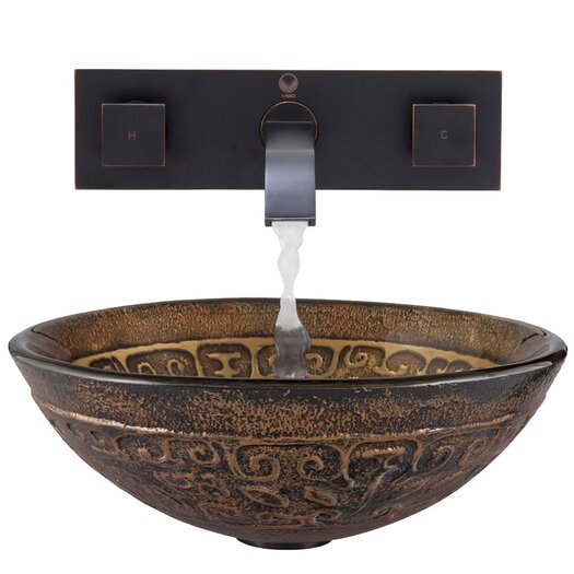 Vigo Golden Greek Glass Vessel Bathroom Sink with Titus Wall Mount Faucet