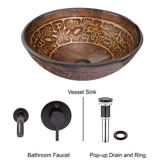 Vigo Golden Greek Glass Vessel Bathroom Sink with Olus Wall Mount Faucet