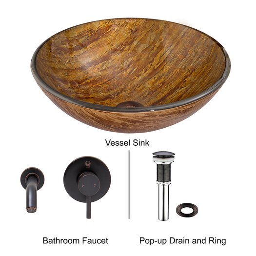 Vigo Amber Sunset Glass Vessel Bathroom Sink with Olus Wall Mount Faucet