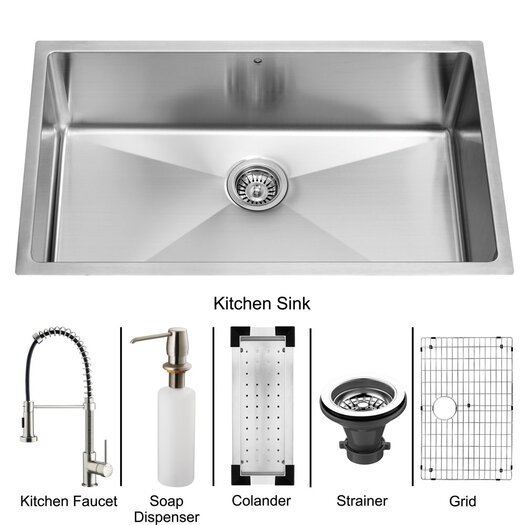 "Vigo 32"" x 19"" Undermount Kitchen Sink with Faucet, Colander, Grid, Strainer and Dispenser"