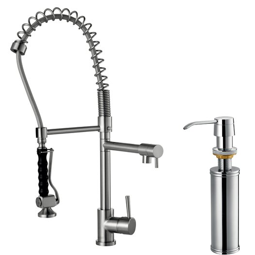 Vigo Two Handle Single Hole Pull-Down Spray Bar Faucet with Soap Dispenser