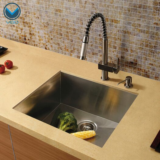 "Vigo 23"" x 20"" Undermount Single Bowl Kitchen Sink with Faucet and Soap Dispenser"