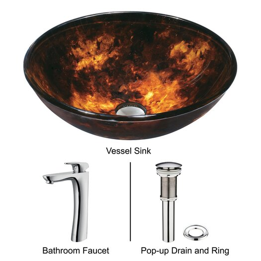 Vigo Tortoise Glass Bathroom Sink with Round-Edged Faucet