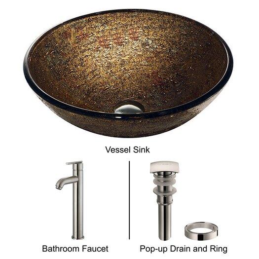 Vigo Glass Textured Bathroom Sink with Statuesque Faucet