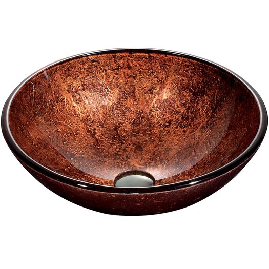 Vigo Mahogany Moon Above The Counter Round Tempered Glass Vessel Sink