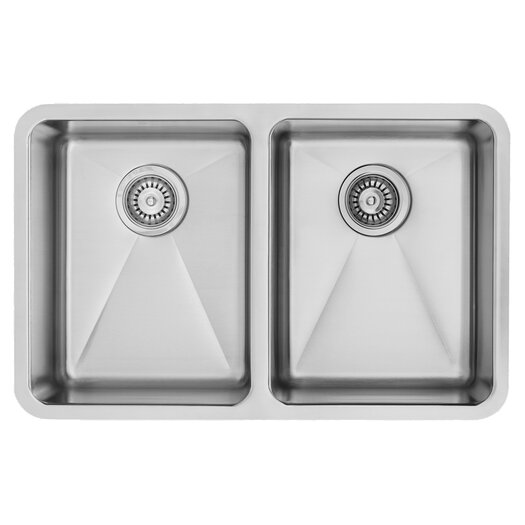 "Vigo 29.25"" x 18.5"" Undermount Double Bowl Kitchen Sink"