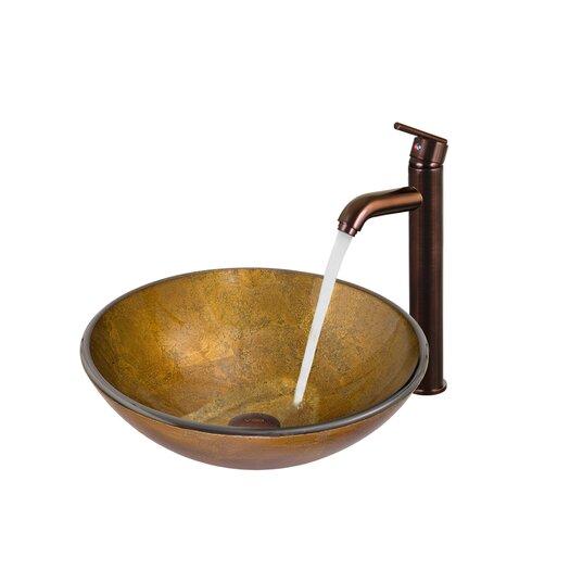 Vigo Atlantis Glass Bathroom Sink with Faucet