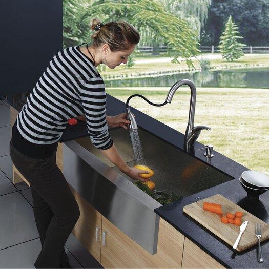 "Vigo 33"" x 22.25"" Farmhouse 16 Gauge Single Bowl Kitchen Sink with Faucet and Soap Dispenser"