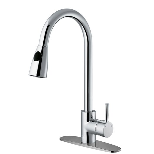 Vigo One Handle Single Hole Kitchen Faucet with Deck Plate and Pull-Out Spray