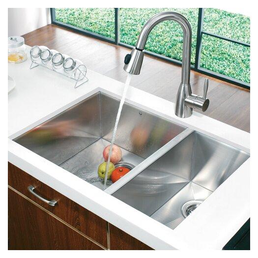 """Vigo 29"""" x 20"""" Double Bowl Zero Radius Undermount Kitchen Sink"""