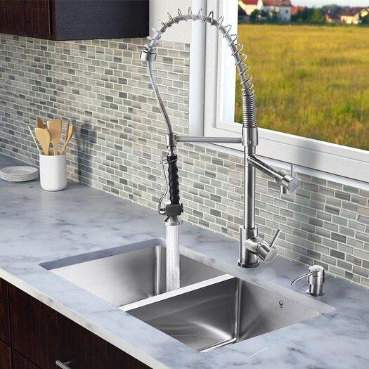 """Vigo 29.25"""" x 18.5"""" Zero Radius Double Bowl Kitchen Sink with Sprayer Faucet"""