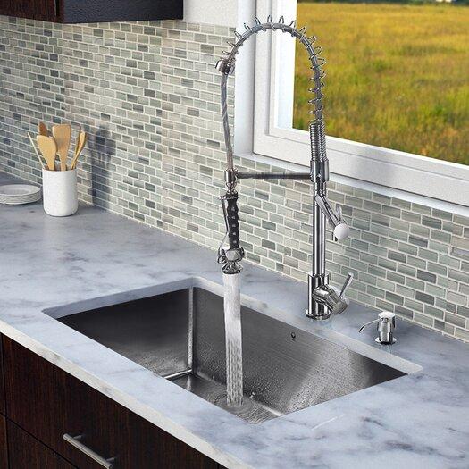"Vigo 32"" x 19"" Single Bowl Kitchen Sink with Sprayer Faucet"