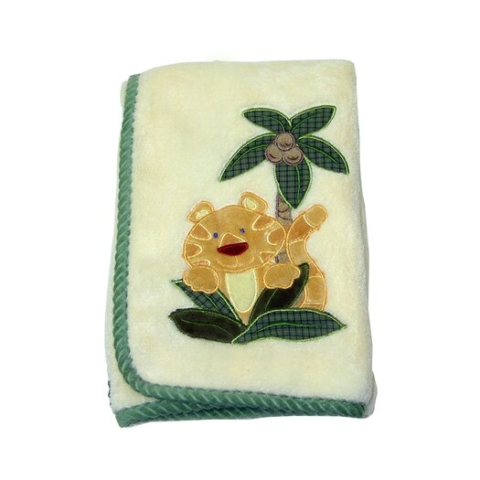 NoJo Jungle Babies Coral with Applique Blanket