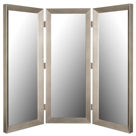 """Hitchcock Butterfield Company 72"""" x 72"""" Baroni Silver Mirror 3 Panel Room Divider"""