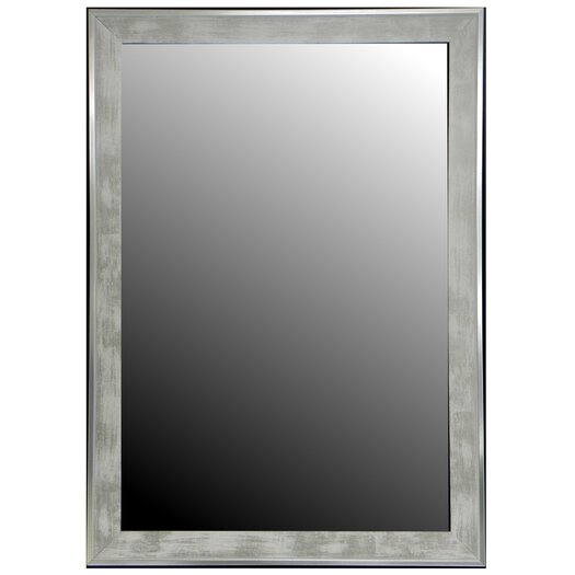 Hitchcock Butterfield Company Scratched Wash White & Silver Trim Framed Wall Mirror
