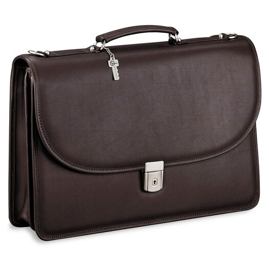 Jack Georges Platinum Double Gusset Leather Briefcase