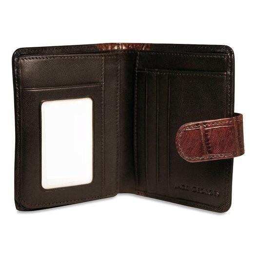 Jack Georges Venezia Tri-Fold French Purse in Black / Brown