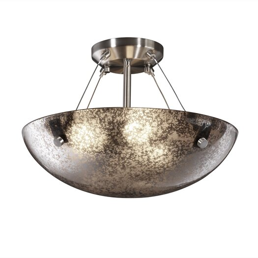 Justice Design Group Fusion Semi Flush Bowl with Pair Cylindrical Finials