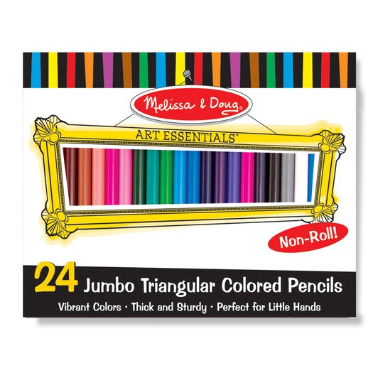 Melissa and Doug Jumbo Triangular Colored Pencils, 24 Pack