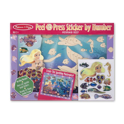 Melissa and Doug Mermaid Reef Peel and Press Sticker by Number