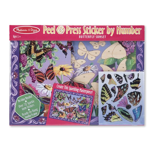 Melissa and Doug Butterfly Sunset Peel and Press Sticker by Number
