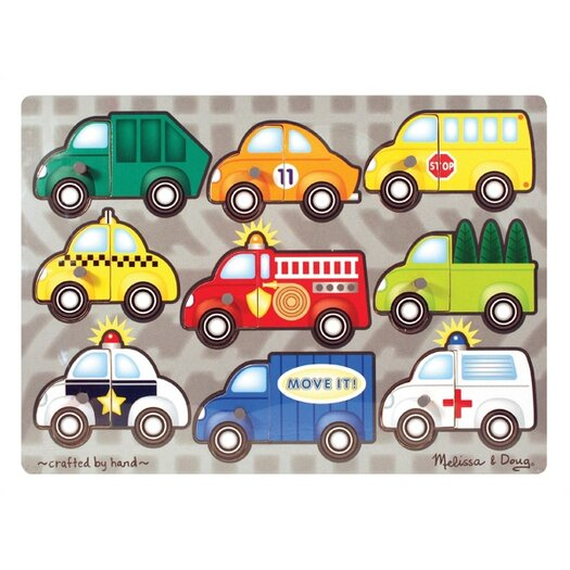Melissa and Doug Vehicles Mix N' Match Wooden Peg Puzzle