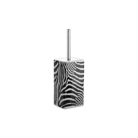 Gedy by Nameeks Safari Toilet Brush Holder in Black and White Zebra Print