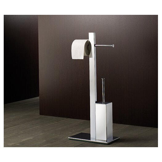 Gedy by Nameeks Bridge Bathroom Butler with Double Toilet Paper Holder and Toilet Brush in Chrome