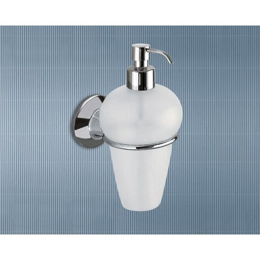 Gedy by Nameeks Ascot Frosted Glass Soap Dispenser with Chrome Holder