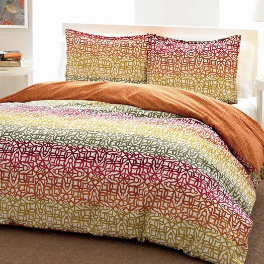 City Scene Fiesta Stripe Comforter Set in Orange