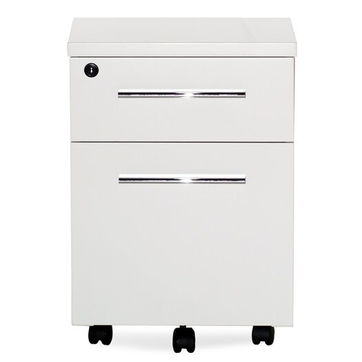 Jesper Office 2 Drawer Mobile File Cabinet with Lock & Casters