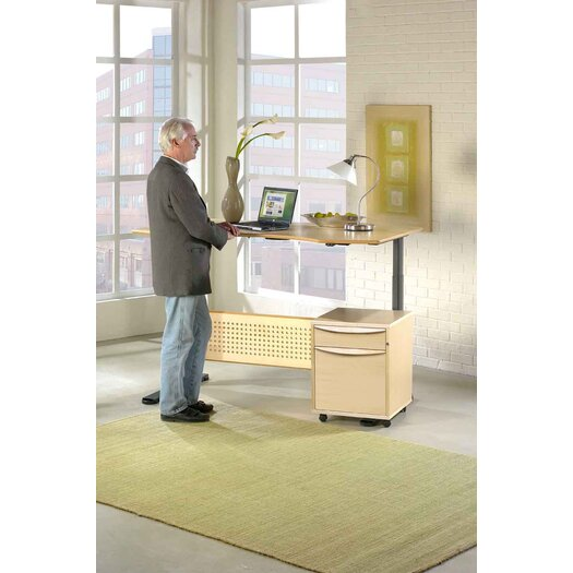 "Jesper Office Motorized Standing Desk in Wood 63"" Top"