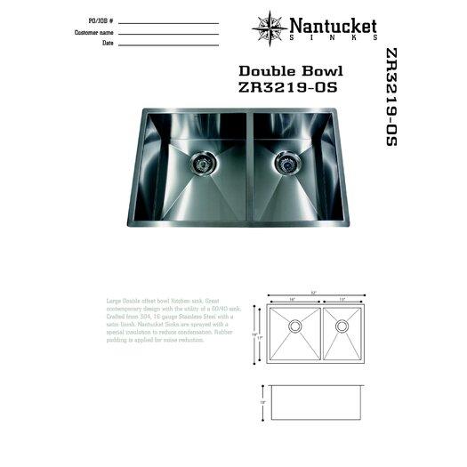 "Nantucket Sinks 32"" x 19"" Double Offset Undermount Kitchen Sink"