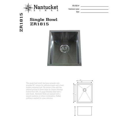 "Nantucket Sinks 16.5"" x 13"" Zero Radius Single Bowl Undermount Bar  Sink"