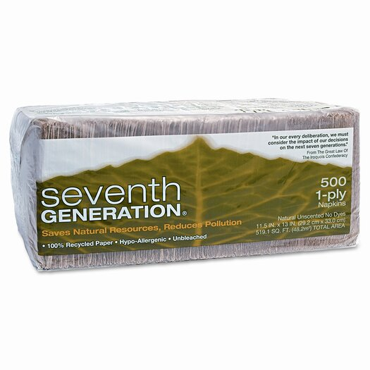 Seventh Generation (500 per Carton) 100% Recycled Natural Napkins, 9.25 x 3