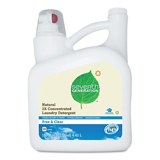 Seventh Generation Natural 2X Concentrate Laundry Liquid, Free and Clear, 150 Oz. Bottle