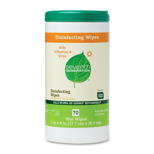 Seventh Generation Disinfecting and Cleaning Wipes, 7 x 8, White, 70/Canister