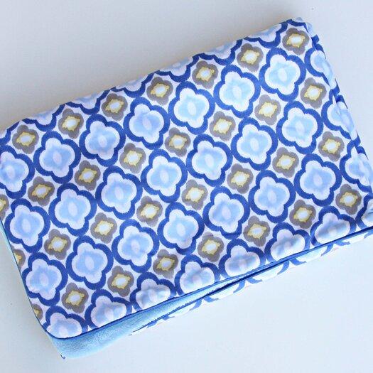 Caden Lane Ikat Mod Blue Piped Blanket