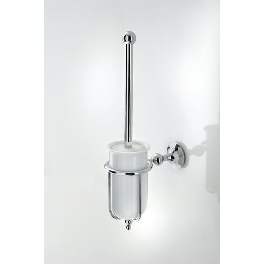 WS Bath Collections Venessia Toilet Brush Holder with Porcelain Container in Polished Chrome