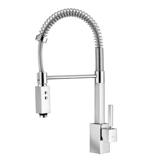 """WS Bath Collections Domino """"Professional"""" One Handle Single Hole Bar Faucet with Two-Spray Hand Shower"""