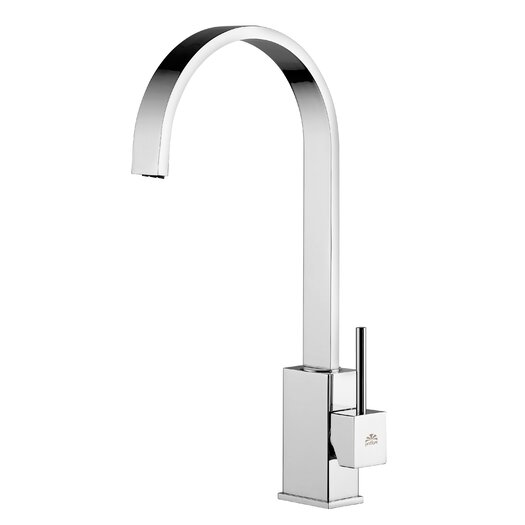 """WS Bath Collections Level 14.7"""" One Handle Single Hole Kitchen Faucet with Swivel Spout"""