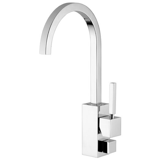 WS Bath Collections Domino One Handle Single Hole Kitchen Faucet with High Swivel Spout and Dish-Washer Connection
