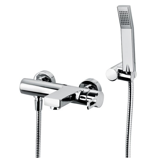 WS Bath Collections Fonte Ringo Single Handle Wall Mount Tub Filler with Handshower