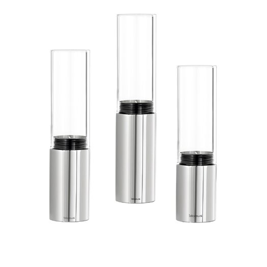 Blomus Faro Stainless Steel 3 Piece Glass Hurricane Set