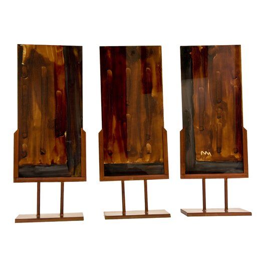 Ambiente Handmade Sculpture Panel with Iron Stands