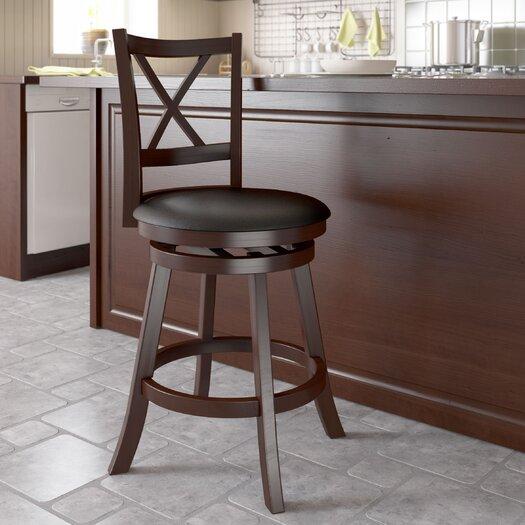 "dCOR design Woodgrove Cross Back 29"" Swivel Bar Stool with Cushion"