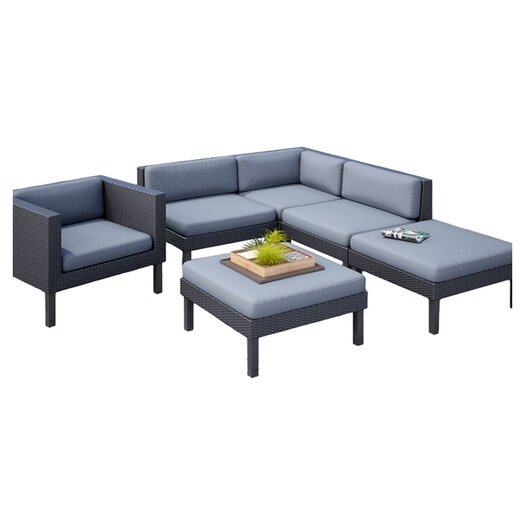 dCOR design Oakland 6 Piece Lounge Seating Group with Cushion